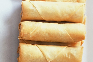 green onions, garlic, ginger, carrot, cabbage, water chestnuts or bamboo shoots, soy sauce, peanut oil. Saute gently then wrap in spring roll wrappers and bake until golden.