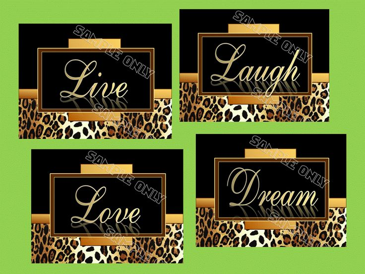 Leopard Cheetah Print Wall Art Decor Charming Live Laugh Love Dream 5x7 or 8x10