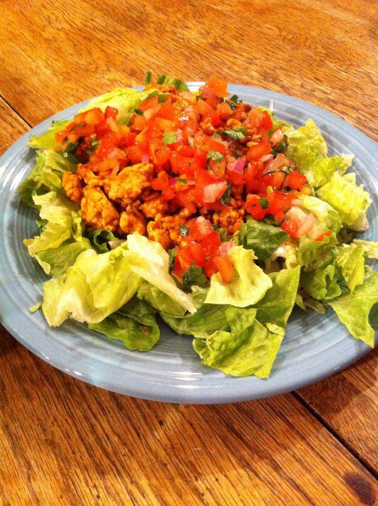 Ground turkey with low sodium taco seasoning, homemade pico de gallo and romaine lettuce