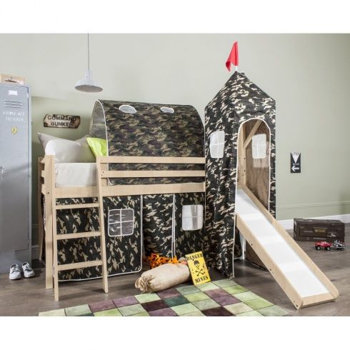 army cabin bed with slide tent tower tunnel in. Black Bedroom Furniture Sets. Home Design Ideas