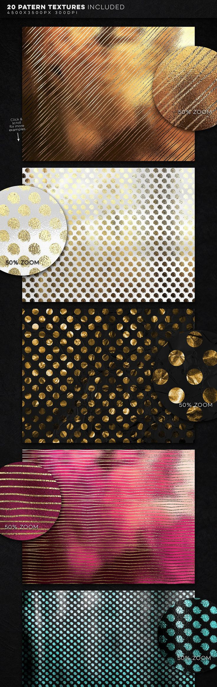 350 Gold & Metallic Textures Bundle by Zeppelin Graphics on @creativemarket