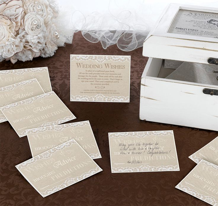 how to put guest names on wedding invitations%0A Lillian Rose Country Lace Guest Wedding Wishes Cards  Set of