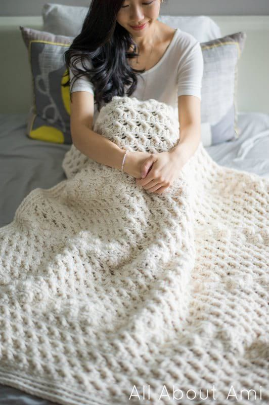 Cross Bobble Blanket/ crochet.