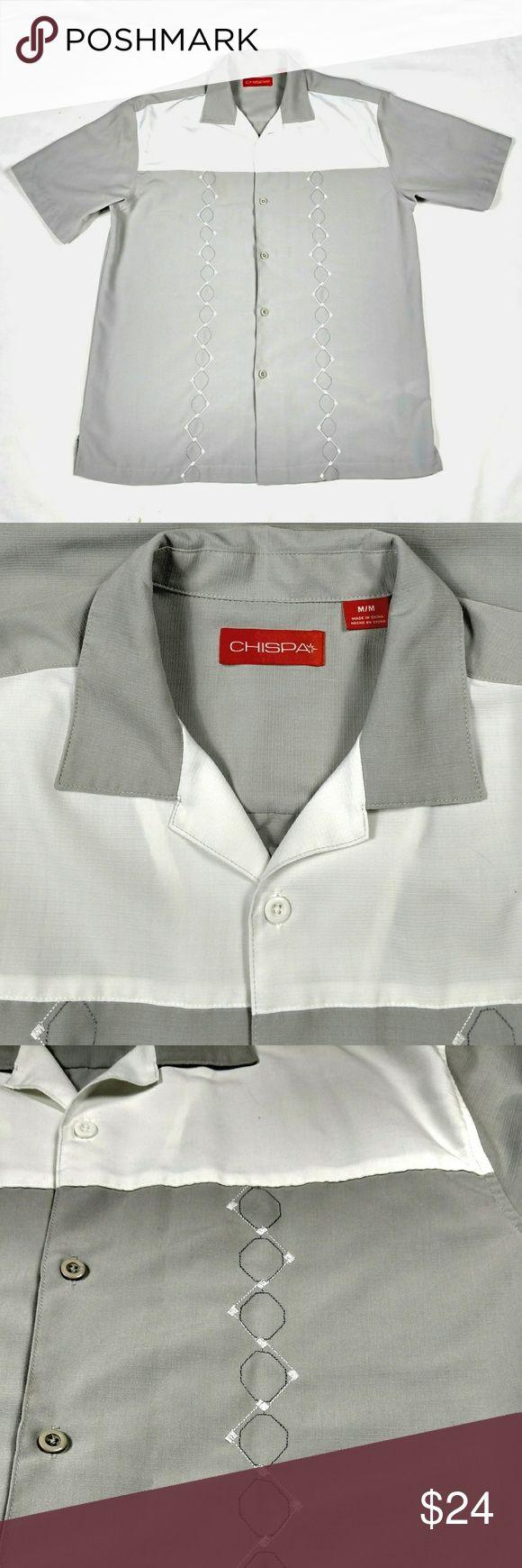 CHISPA Guayabera Men's Cuban Button down Medium CHISPA Guayabera Men's Cuban Beach Wedding Button-up Casual Dress Shirt MEDIUM (E) CHISPA Shirts Casual Button Down Shirts