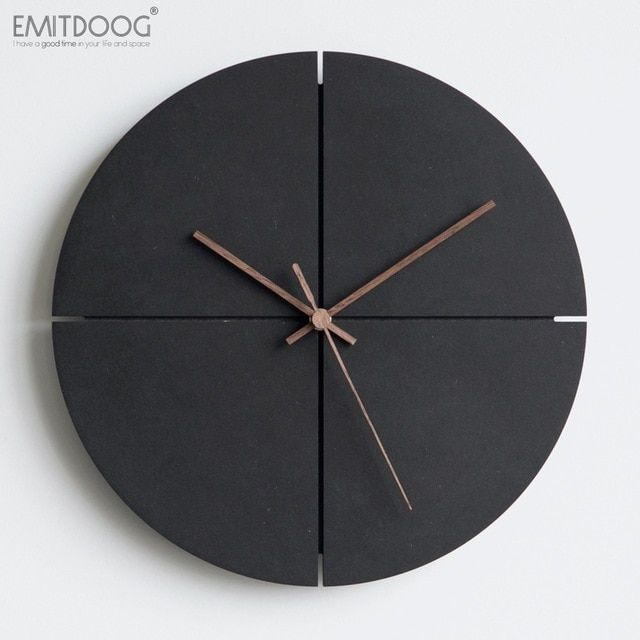 Emitdoog 12inch Retro Wooden Wall Clock Farmhouse Decor Black Non Ticking Wall Clocks Large Decorative Q Modern Clock Wall Clock Modern Minimalist Wall Clocks
