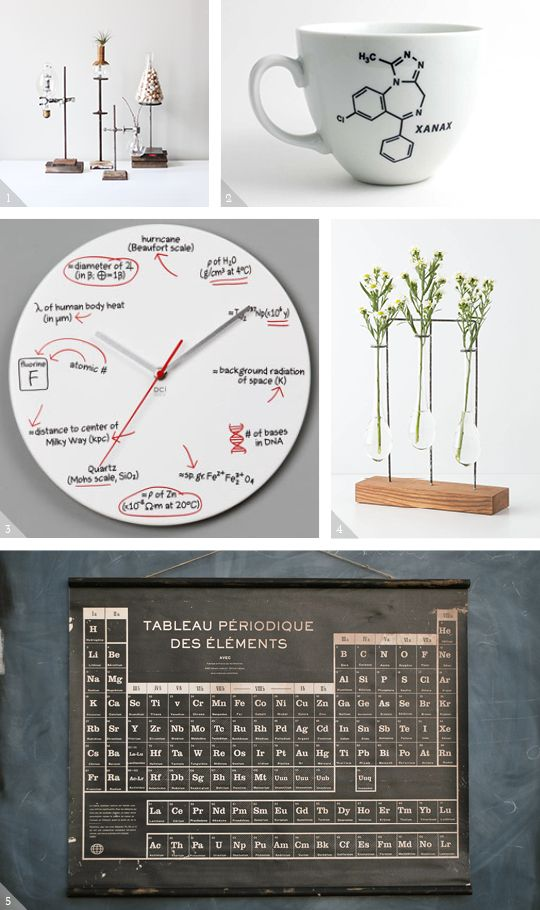Science inspired home decor to bring an academic vibe to your space.  Click for sources.