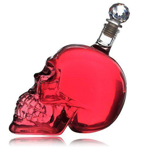 Sky-ii Tête de mort Crystal Head Vodka Skull Face Bone Bouteille en verre Decanter Cup Home Bar 500ml: Crâne petit verre avec verre de gui…