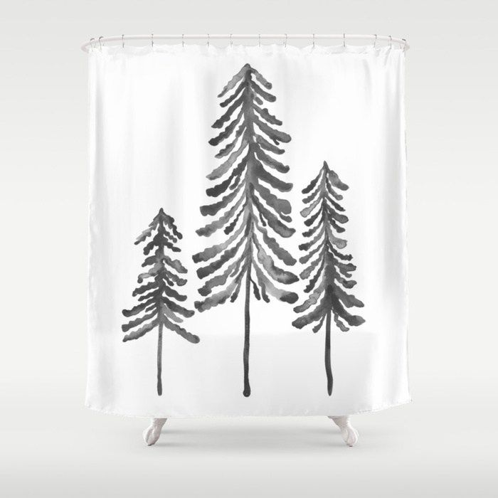 Buy Pine Trees Black Ink Shower Curtain By Catcoq Worldwide