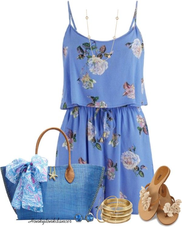 Cute Blue Floral Playsuit Summer Outfit