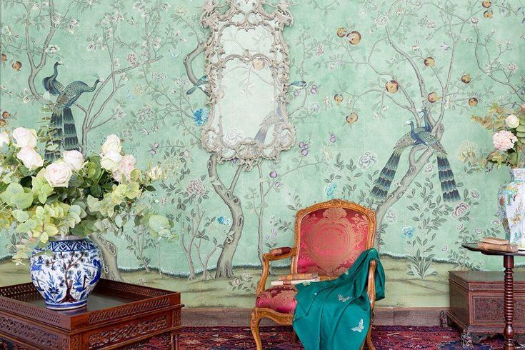 Papel pintado, chinoiserie chic. Papeles de las Indias, De Gournay, Paul Montgomery, Gracie. Compañía de las Indias,