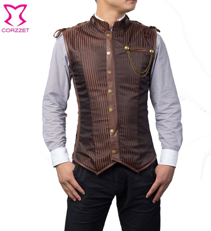 Brown / Black Striped Stand Collar Sleeveless Male Corset Jacket Punk Gothic Clothing Men Steampunk Coat Waist Trainer Vest Tops