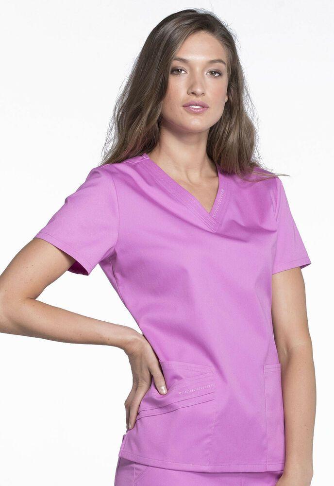 08fd5943241 eBay #Sponsored Cherokee Medical Uniforms Luxe Dr/Nurses Scrub Top in Berry  Bodacious SZ M 1845