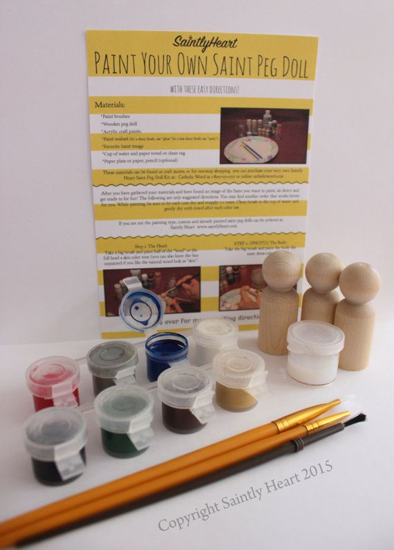 Paint your 3 favorite saints with this Do-it-yourself Saint Peg Kit!  This is the perfect gift for that art lover!  Included in the kit are: 3 unfinished 2 3/8inch peg dolls 8 acrylic paint colors in small paint pots (you can choose the colors, just make sure to list them when in a note when you check out) 1 water-based paint sealer (to polish and protect the finished product) 3 paint brushes of various sizes 1 set of directions on how to paint a saint peg doll  The paint colors that wil...