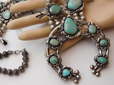 Vtg OLD PAWN NAVAJO Silver Ingot GREEN TURQUOISE Nugget SQUASH BLOSSOM NECKLACE