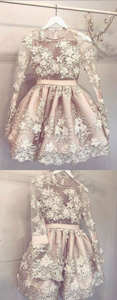 Cute champagne lace short prom dress, homecoming dress – trendty