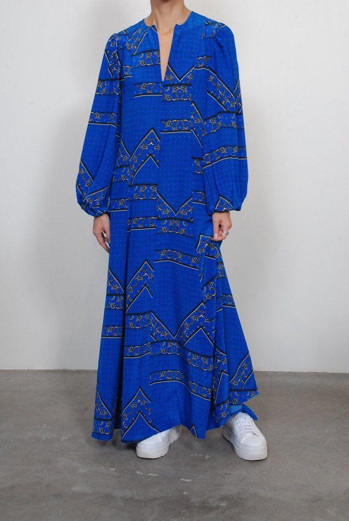 792275bde2b7 Ganni Sandwashed Silk Maxi Dress in Lapis Blue