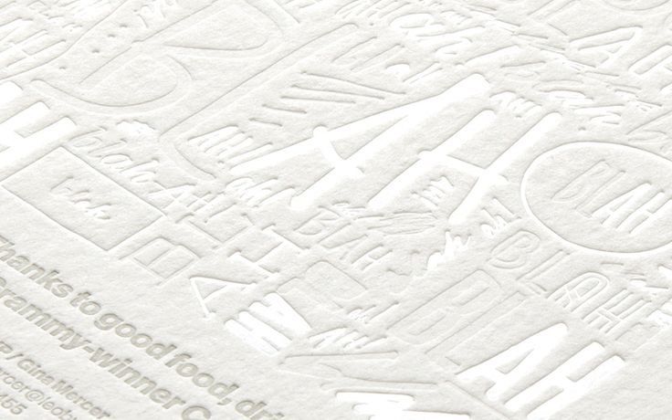 White foil, hand lettering, letterpress, blind embossing, spot varnish, and hand-painted edges combine to make this spectacular piece of print Designed by Andy Luce Printed by Rohner Letterpress For Leo Burnett