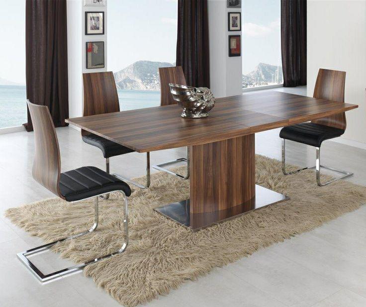 Mesa extensible zurich en nogal sillas con respaldo en for Comedores tapizados