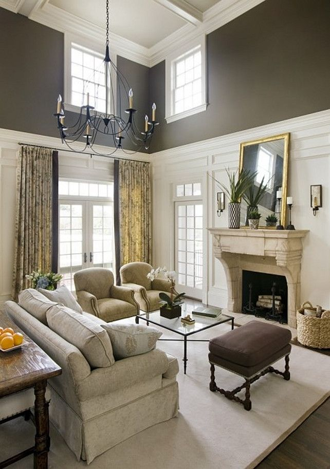 Good 2 Story Great Room Decorating Ideas Part - 5: Traditional Living Room With A Cathedral Ceiling, This Is A Clever Way To  Decorate Them To Make Them Cozy.