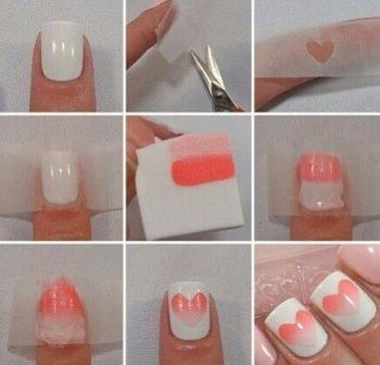 decoracion de uñas con corazon degrade