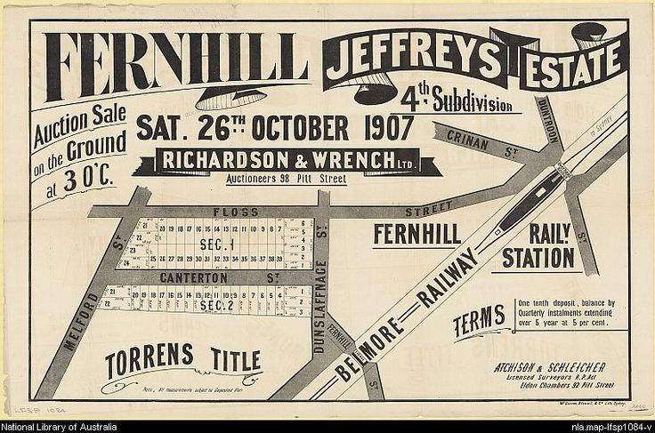 Fernhill, Jeffreys Estate. Sales plan for Fernhill (now part of Hurlstone Park), New South Wales. Courtesy National Library of Australia.