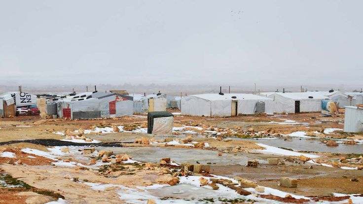 syrian refugee camp  in winter