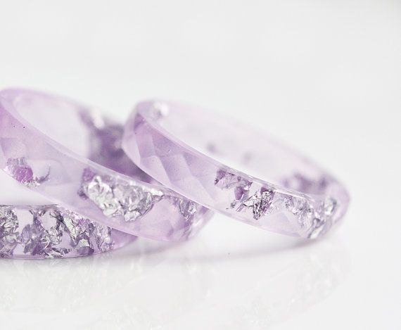 Lavender Resin Ring Stacking Ring Silver Flakes Small by daimblond, €22.00