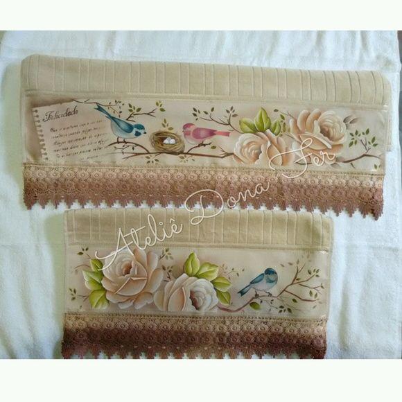 Jogo de toalhas pintadas 2 peças