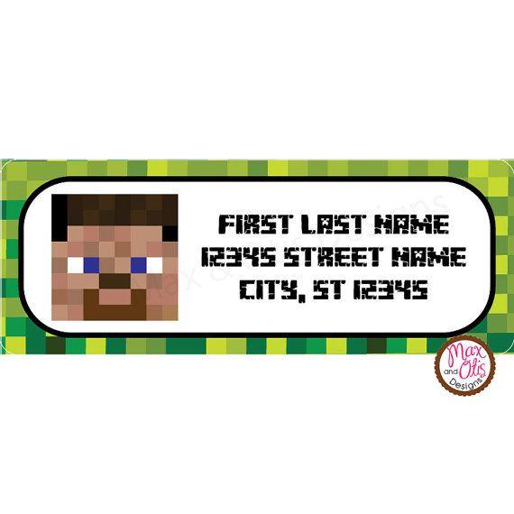 minecraft steve printable address labels by maxandotis on