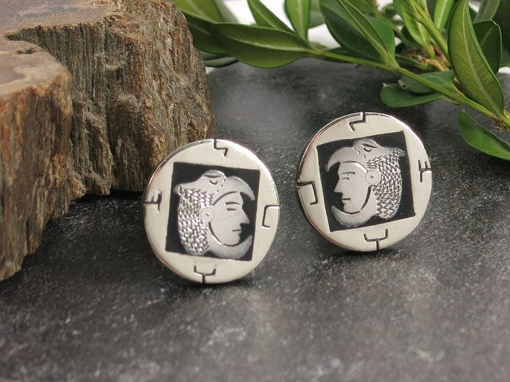 Vintage Mexican or South American Alpaca Cuff Links - Aztec Warrior Cufflinks - Vintage Men's Accessories - Perfect Father's Day Gift by EightMileVintage on Etsy