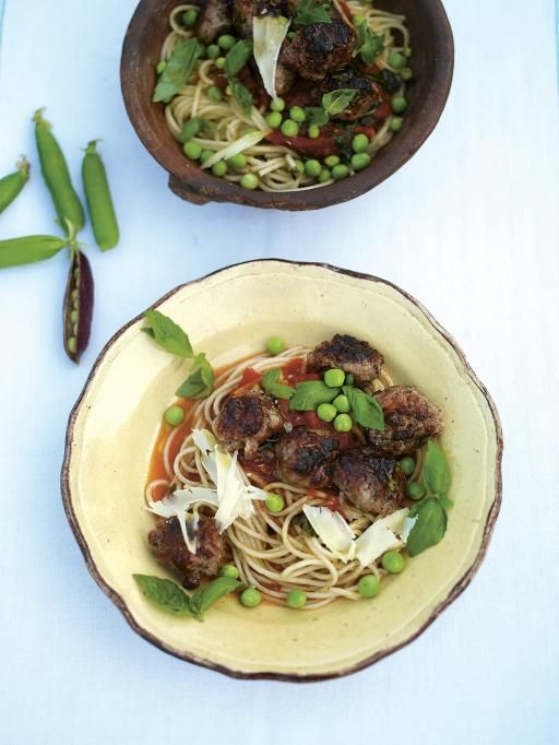 quick sausage meatballs with a tomato & basil sauce, spaghetti & sweet raw peas | Jamie Oliver | Food | Jamie Oliver (UK)