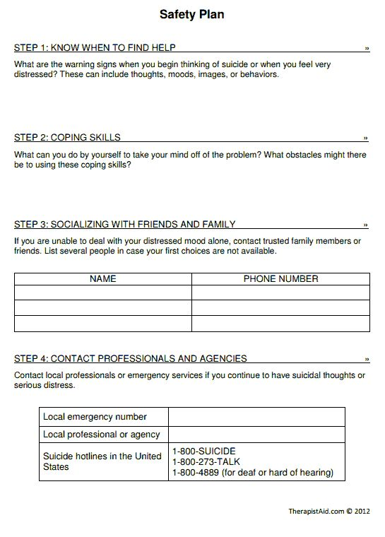 Safety plan printable self harm client sessions ideas for Suicide safety plan template