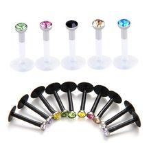 LNRRABC Koop 10 Stks Punk Bar Lip Ring Stud Oorkraakbeen Acryl Ronde Crystal Body Piercing Sieraden(China (Mainland))