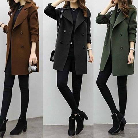 Autumn Winter Women Casual Coats Turn-down Collar Warm Woolen Long Sleeve  Slim Outwear Lapel Cardigan Jacket H9 56cc964c6