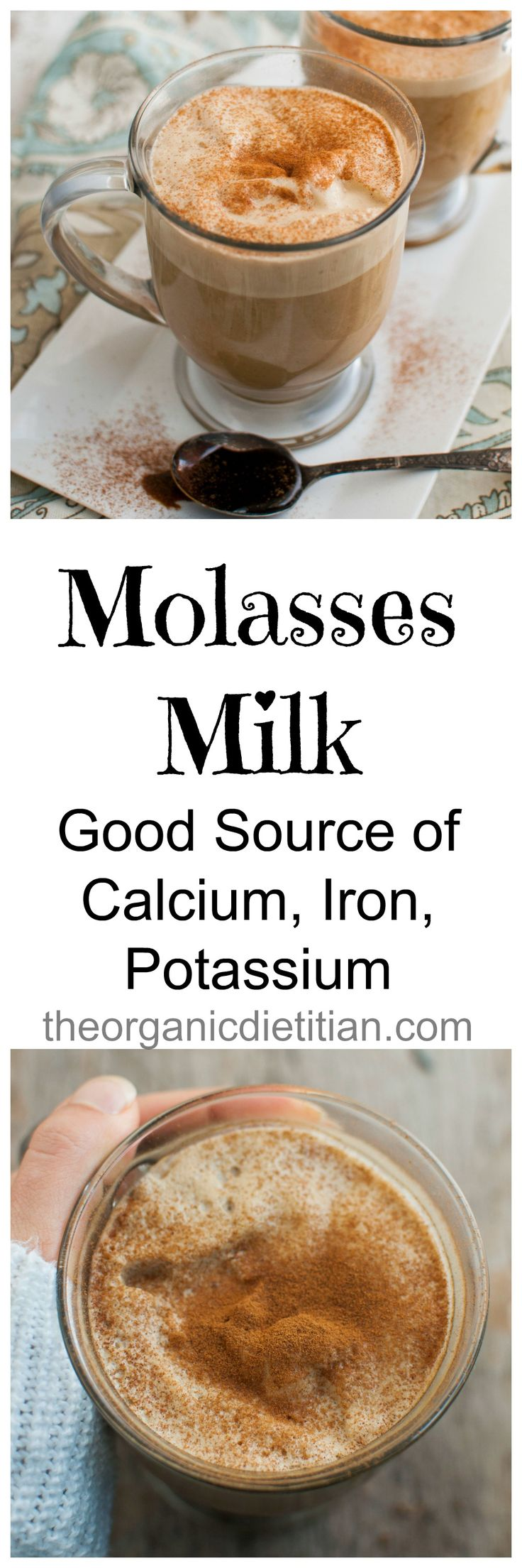 Molasses Milk is a great way to get calcium, iron, potassium and antioxidants.  Serve warm or cold.  And, it sounds yummy