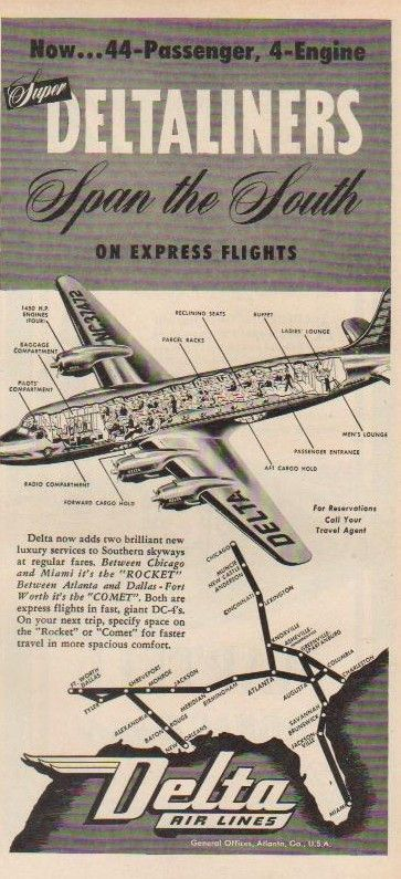 1946 Delta Air Lines DC-4 Comet NC37472 Route Map Aviation Ad