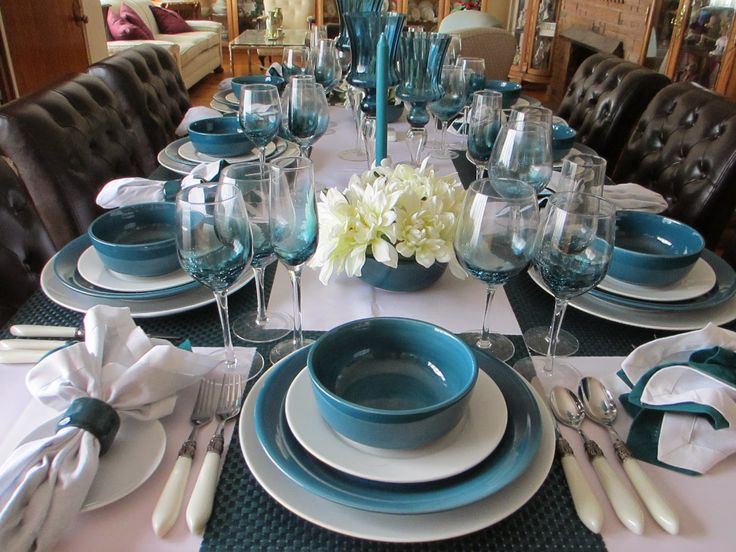 The Welcomed Guest: Teal and White Tablescape
