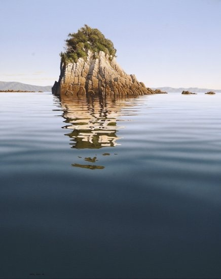 Morning Reflections, Abel Tasman Point by Peter Geen - New zealand landscaping painter ( http://earthseagallery.com )