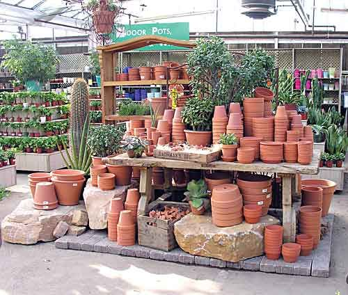A display of terra cotta pottery at Bachman's Garden Center in Minneapolis, Minnesota. Photo courtesy of Bachman's Garden Center.