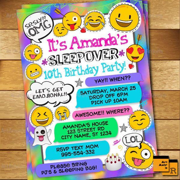 Sleepover Invitation, Emoji Invitation, Slumber Party Invitation, Pajamas Party, Girl's Sleepover Invitation, Emoji Printables R-174 by ArtAmoris on Etsy https://www.etsy.com/listing/513413071/sleepover-invitation-emoji-invitation