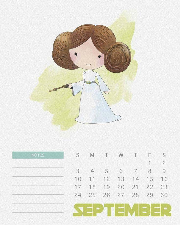 Lá no blog tem 12 ilustrações feitas em aquarela com os personagens de Star Wars que você pode imprimir e usar como calendário! Muito fofo