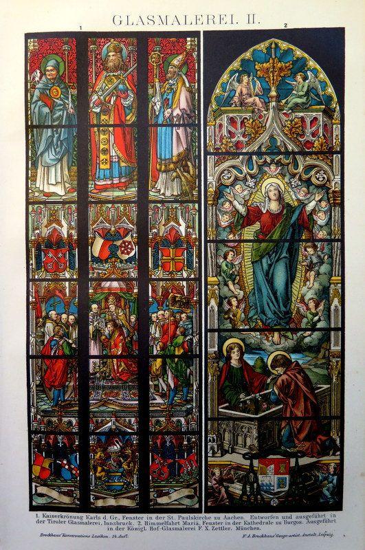 Chromolithographie de vitraux, objets d