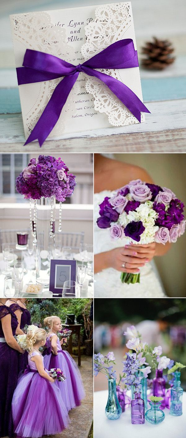 elegant purple wedding colors and laser cut wedding invitations