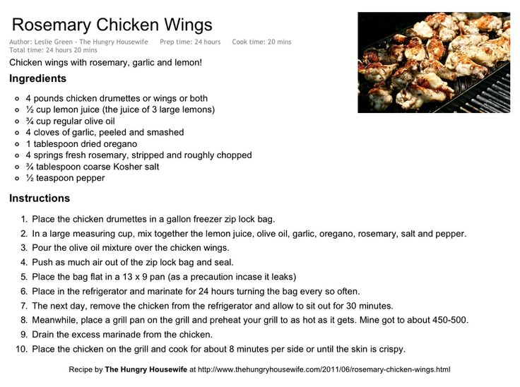 Rosemary Chicken Wings - like Anthony's Coal Fired Pizza Wings. Needs more salt than recipe calls for.