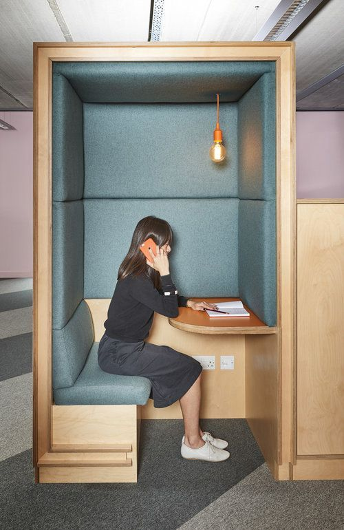 Nice way to create semi-private areas for phone calls in an open office seating. Acoustically attenuated phone booth. #workplace