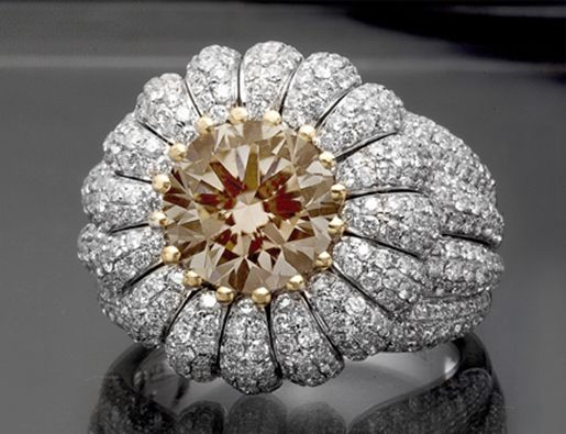 4.94 ct Round Cut Champagne Certified Diamond Cocktail  Ring 18k White Gold - Fancy Colored Diamond Rings - Diamond Rings