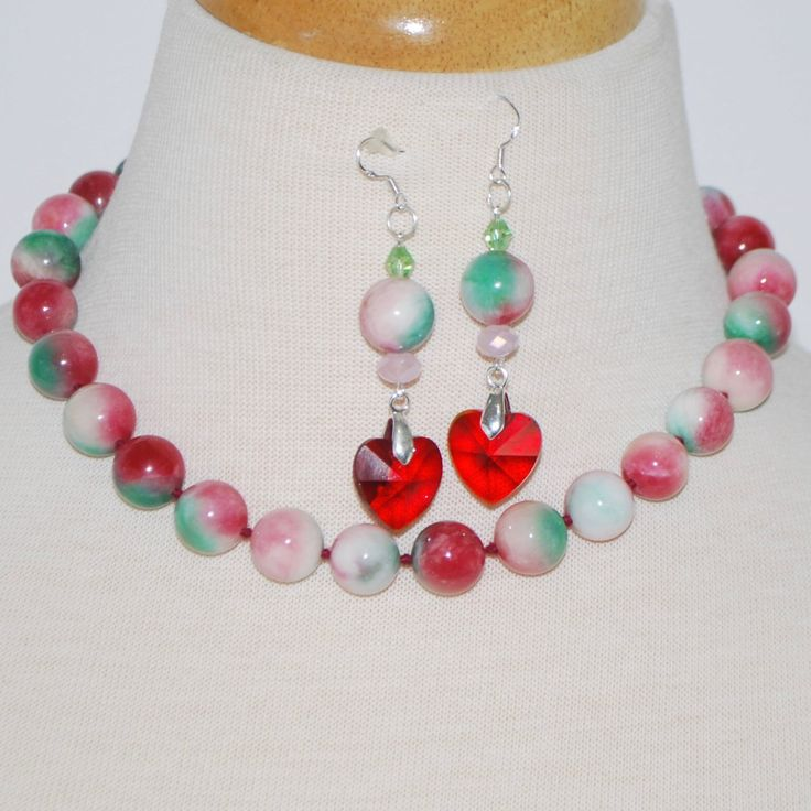 Apple green and red necklace and earrings set. This set has a matching bracelets.