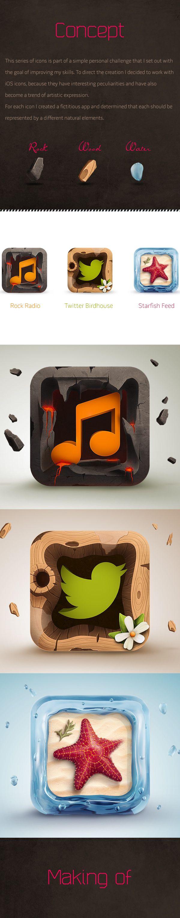 iOS Icons by Rodrigo Bellão, via Behance