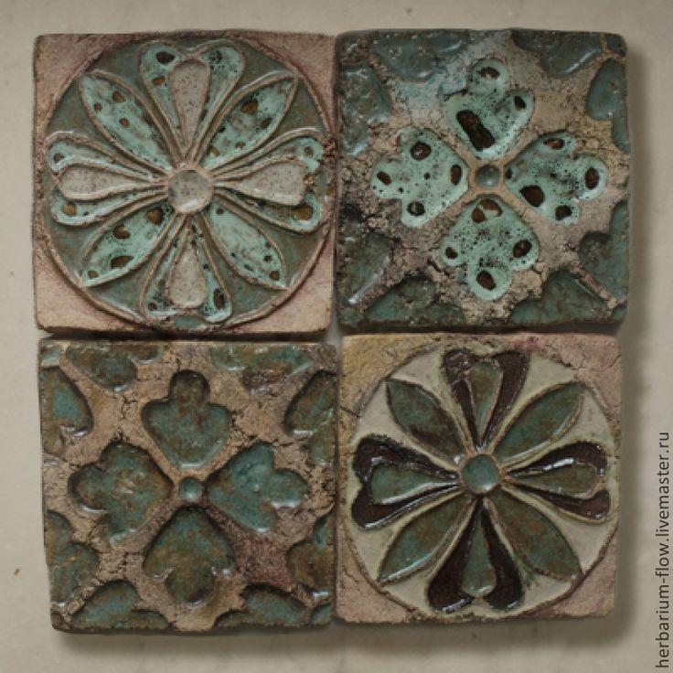 Купить изразцы - плитка, цветы, орнамент, ручная работа, кухонный фартук, ванная комната, шамот