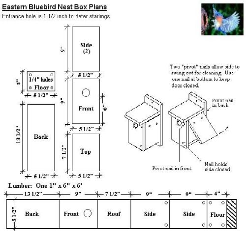 Free Blue Bird House Plans - Bluebird Nesting Box, Bluebird House